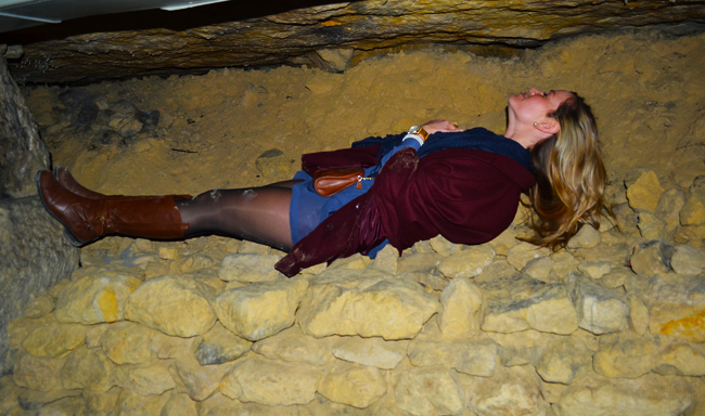 Caroline getting entombed in the tomb... or at least hoping Indiana Jones would come rescue her.